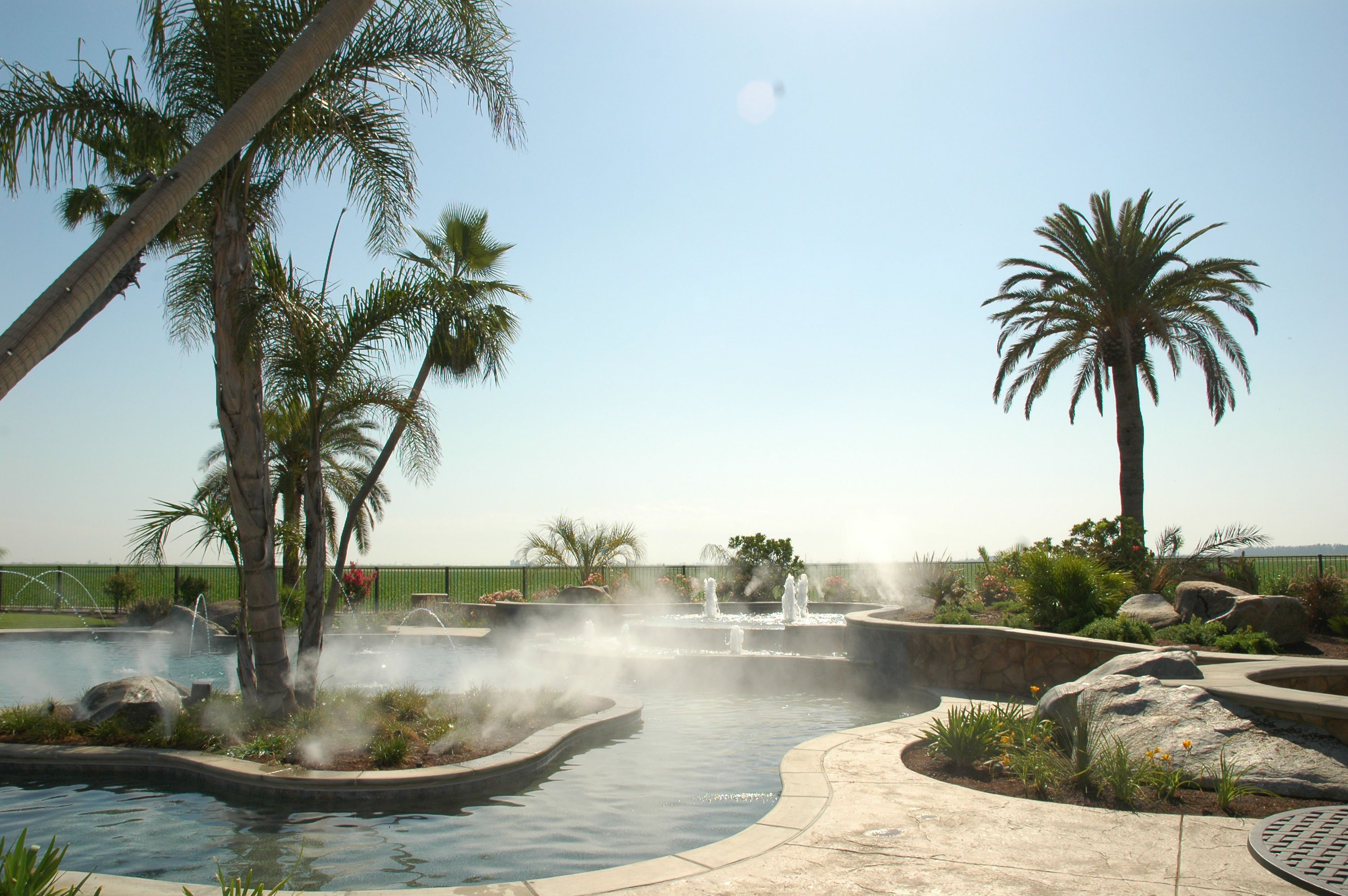 Mediterranean Landscape with Fountains and Pool
