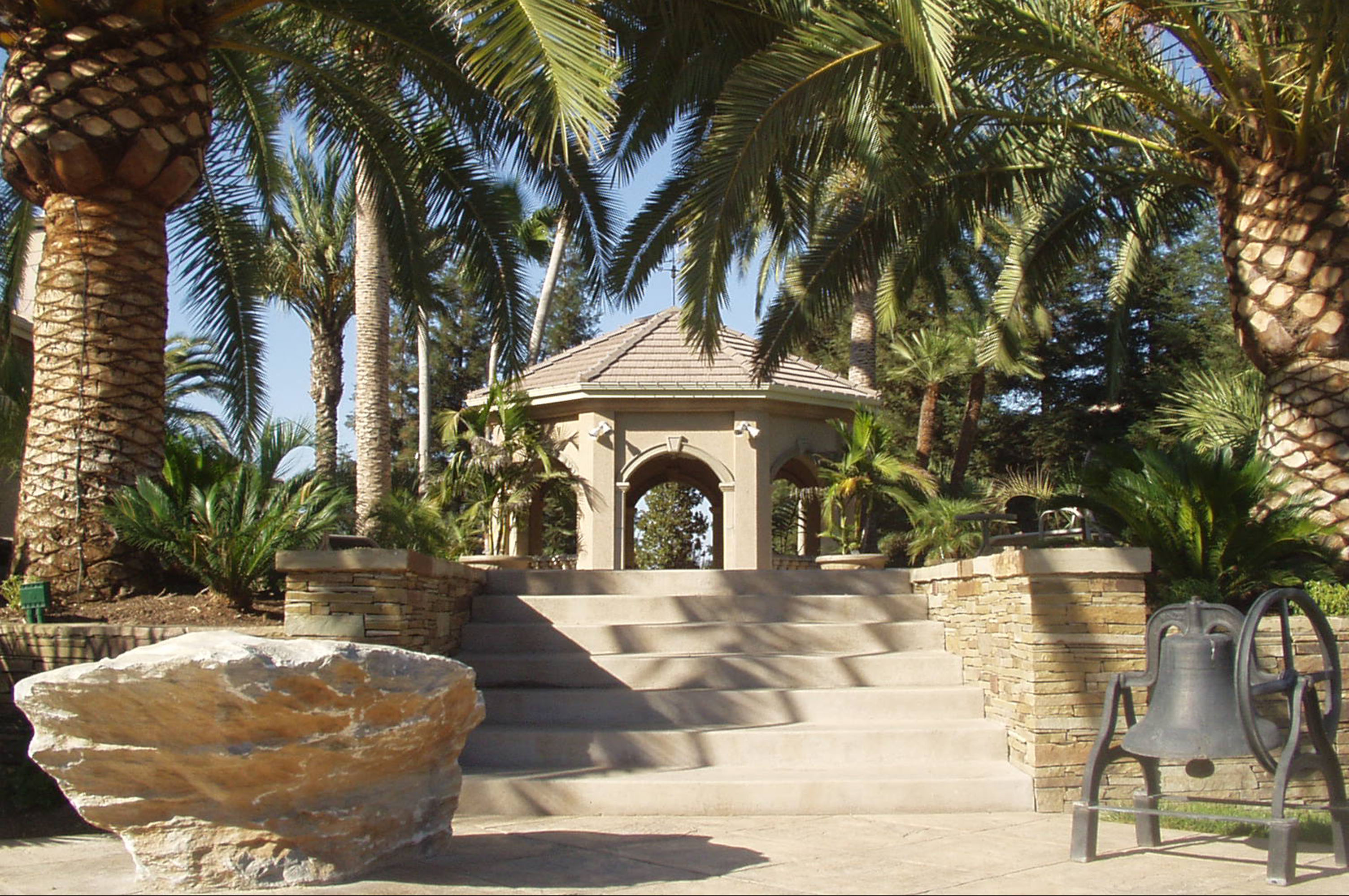 Stately gazebo in tropical landscape