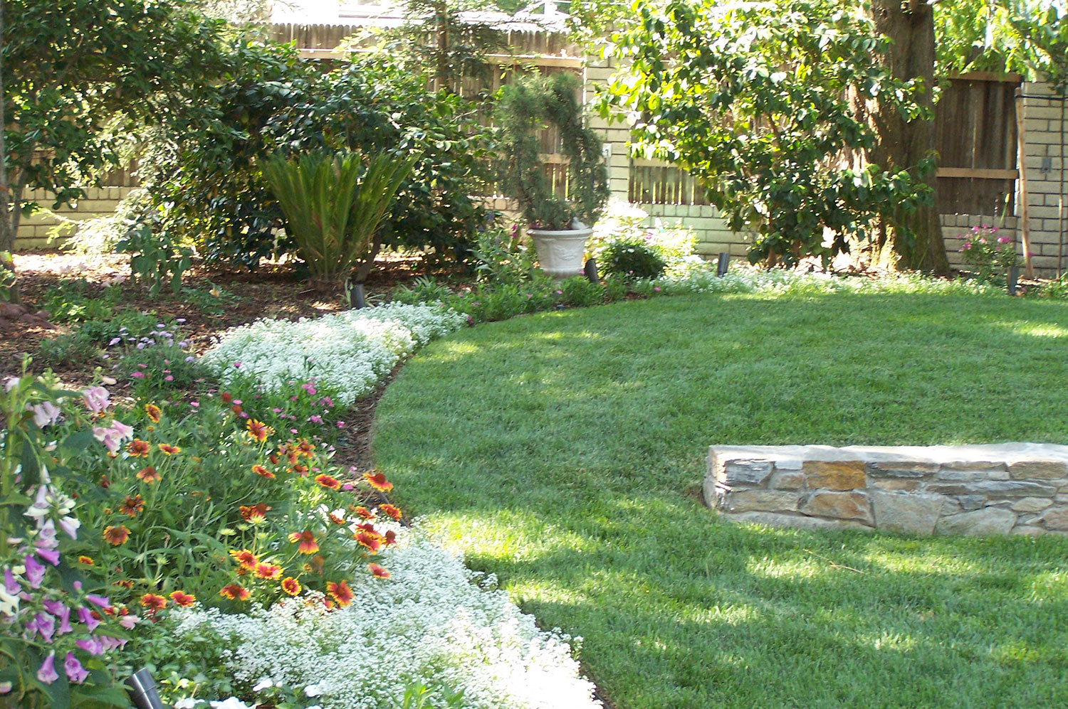 Flower Beds and Lawn